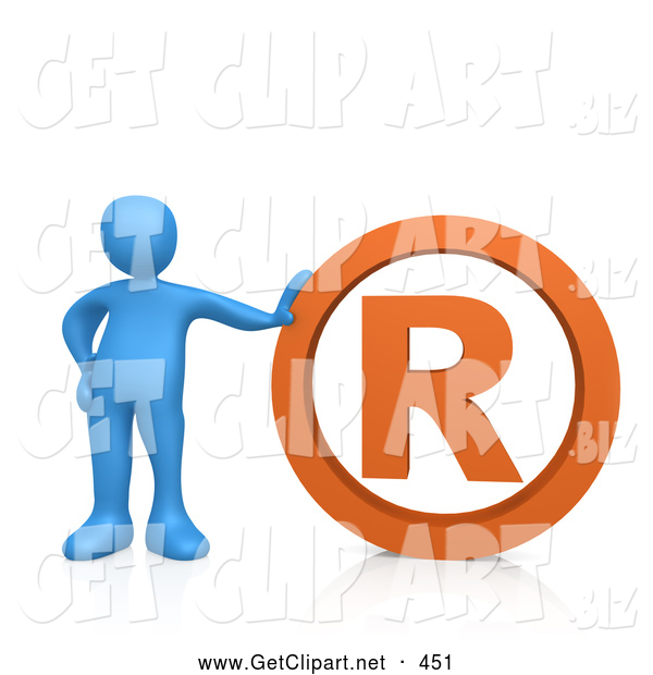 3d Clip Art of a Blue Person Leaning Against an Orange Registered Business Trademark Symbol