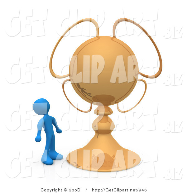 3d Clip Art of a Blue Person Looking Upwards in Awe at His Gold Championship Trophy