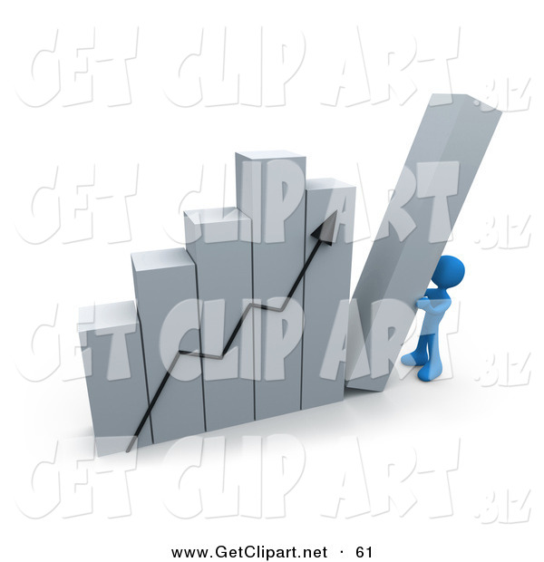 3d Clip Art of a Blue Person Pushing up the Last Column on an Ascending Bar Graph Chart, Symbolizing Effort and Success