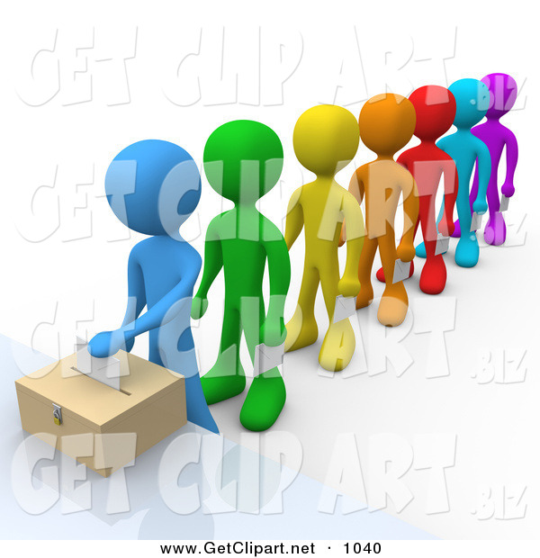 3d Clip Art of a Blue Person Standing at the Front of a Colorful Line of Diverse VotersBlue Person Standing at the Front of a Colorful Line of Diverse Voters