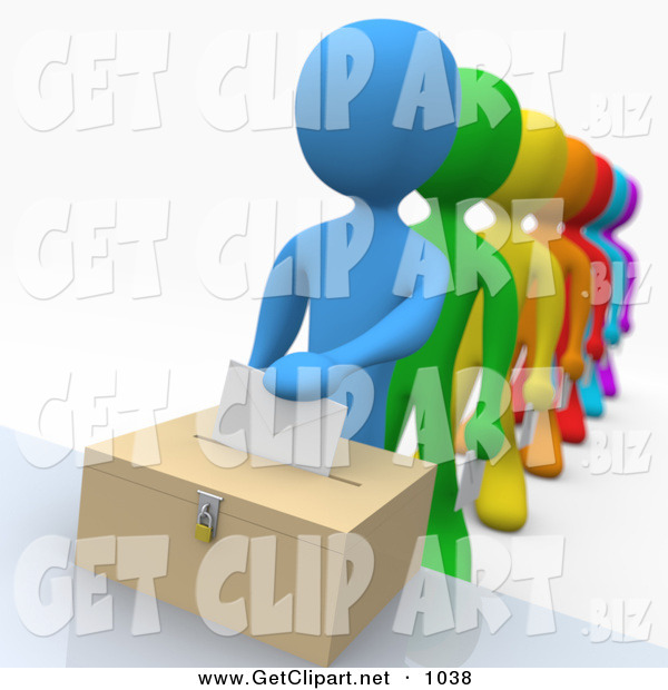 3d Clip Art of a Blue Person Standing at the Front of a Line of Diverse Rainbow Voters on Election DayBlue Person Standing at the Front of a Line of Diverse Rainbow Voters on Election Day