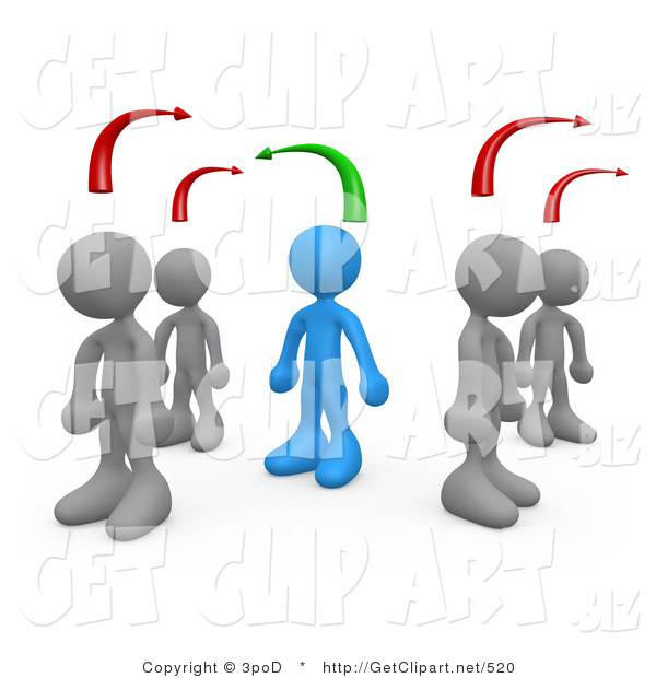 3d Clip Art of a Blue Person Standing Between Two Different Rows of Gray People, Thinking Differently from Other People