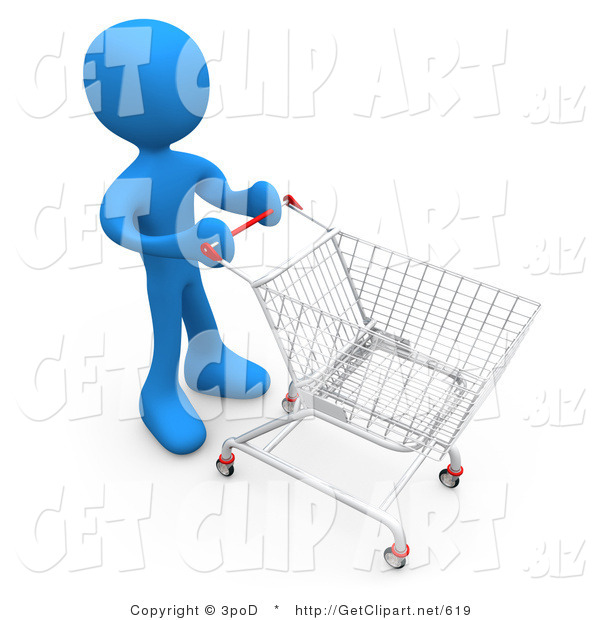 3d Clip Art of a Blue Person Standing in a Store Pushing a Shopping Cart