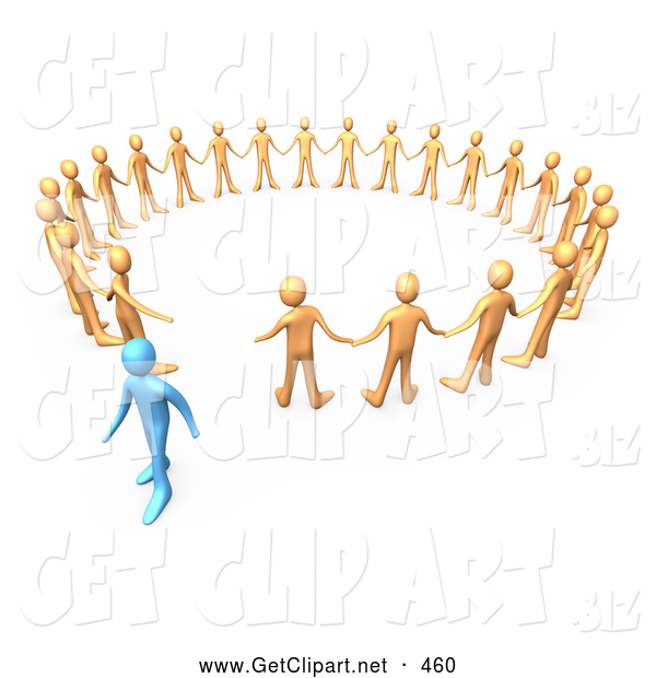 3d Clip Art of a Blue Person Walking Away from a Symmetrical Circle of Orange People, Symbolizing Different Beliefs, Quitting or Being Fired