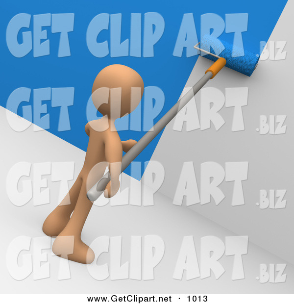 3d Clip Art of a Brown Person Using a Roller to Apply Blue Paint to a White Wall
