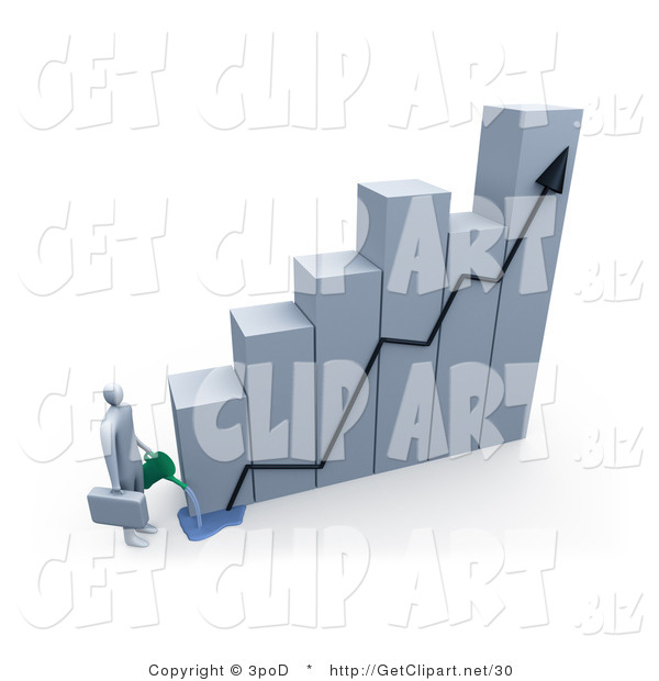 3d Clip Art of a Businessman Carrying a Briefcase, Pouring Water on a Bar Graph Two Increase Company Profits