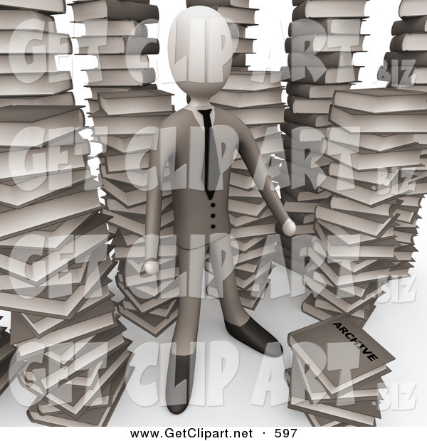 3d Clip Art of a Businessman Doing Research in a Library Full of an Unorganized Mess of Stacked Text Books