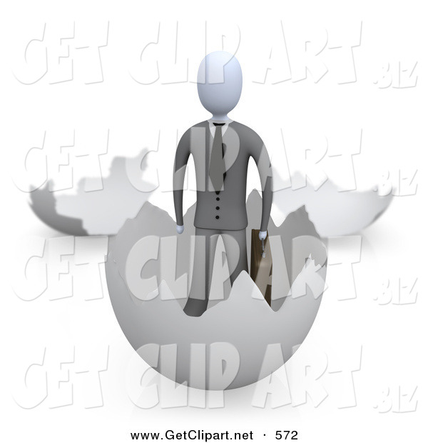 3d Clip Art of a Businessman in a Suit Carrying a Briefcase and Coming out of an Eggshell