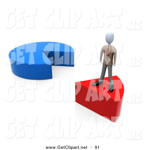 3d Clip Art of a Businessman Standing on a Removed Red Slice of a Pie Chart