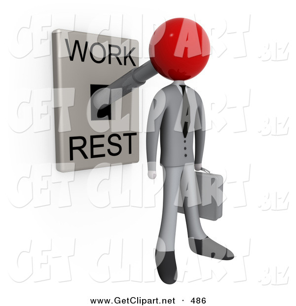 3d Clip Art of a Businessman with His Head Attached to a Lever That Is in Work Mode, Carrying a Briefcase in Office Attire