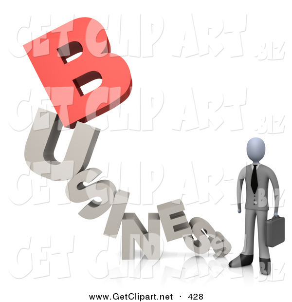 3d Clip Art of a Businessperson Holding a Briefcase and Standing at the End of the Word Business with a Red Letter B