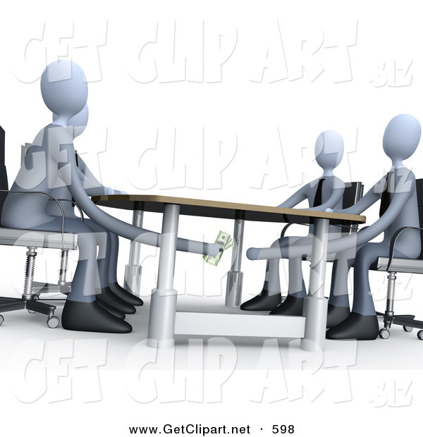 3d Clip Art of a Businessperson Paying or Bribing Another Under the Table During a Business Meeting