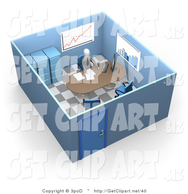 3d Clip Art of a Busy Boss or Manager Businessman in a Suit and Tie, Seated at a Desk and Doing Paperwork Inside His Private Office Space with Filing Cabinets and Charts and Graphs on the Walls