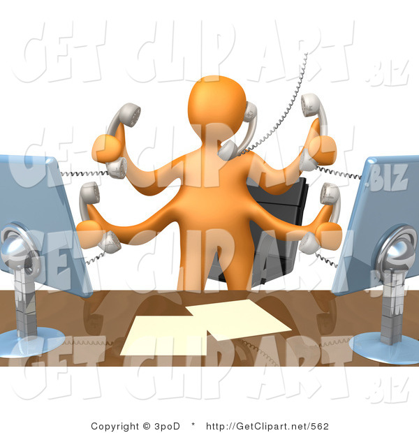 3d Clip Art of a Busy Orange Employee with Four Arms Standing in Front of Their Desk Chair, Two Computer Screens and Papers on Their Desk While Multitasking and Taking Multiple Phone Calls at Once