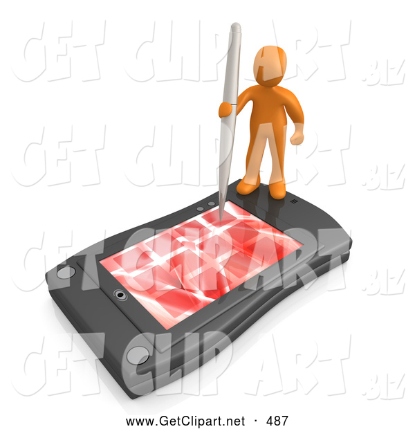 3d Clip Art of a Busy Orange Person Holding a Pen and Scheduling an Appointment on His Black Palm Pilot While Standing on It