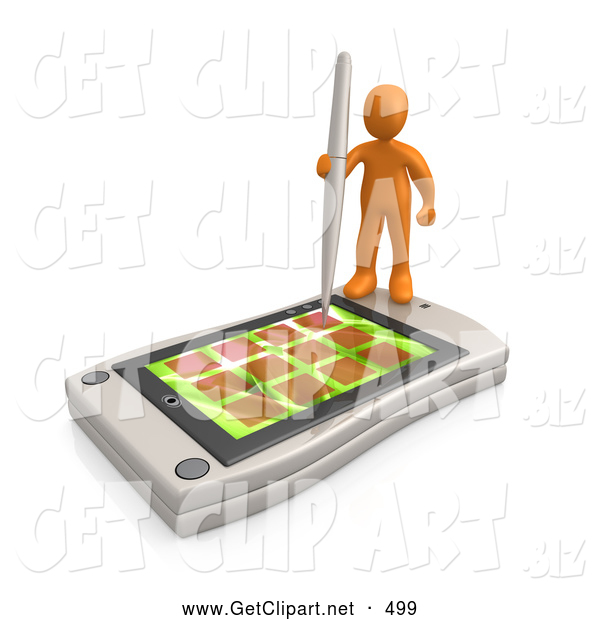 3d Clip Art of a Busy Orange Person Holding a Pen and Scheduling an Appointment on His White Palm Pilot While Standing on It