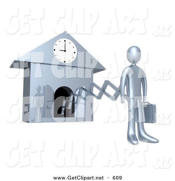 3d Clip Art of a Chrome Businesman in a Suit, Holding a Briefcase and Sticking out from an Arm of a Cuckoo Clock upon the Hour of 9am, Symbolising the Start of a New Work Day, or Punctuality