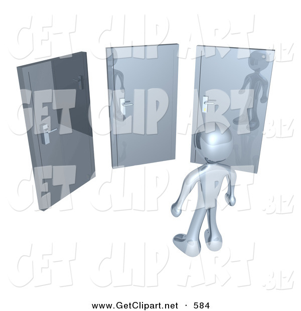 3d Clip Art of a Chrome Figure Standing in Front of Three Different Doors, Symbolizing Different Paths to Take for Job Opportunities or Life Choices
