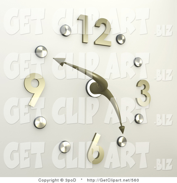 3d Clip Art of a Chrome or Silver Office Wall Clock with Brass Numbers, the Hands Pointing at 10 Minutes to 5