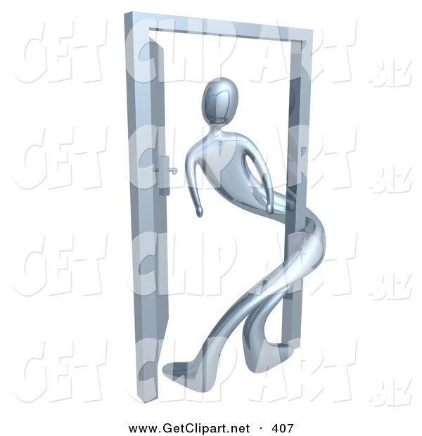 3d Clip Art of a Chrome Person Twisted Around the Frame of an Open Door, Symbolizing Lonliness, Split Personalities, Uncertainty, and an Egotistical Person