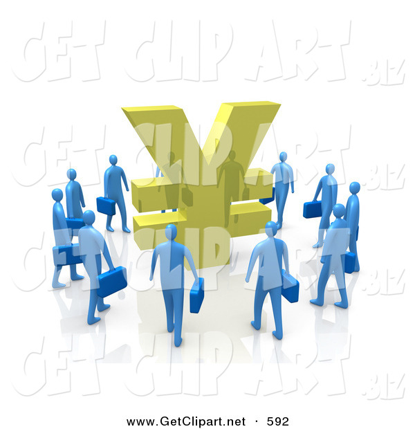 3d Clip Art of a Circling Group of Blue Businesspeople Surrounding a Giant Golden Yen Symbol
