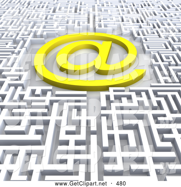 3d Clip Art of a Confusing Maze with an at Symbol in the Middle