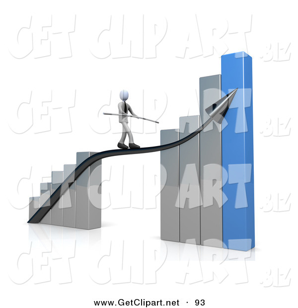 3d Clip Art of a Corporate Businessman Balancing While Walking on an Increase Black Arrow on a Silver and Blue Bar Graph Chart