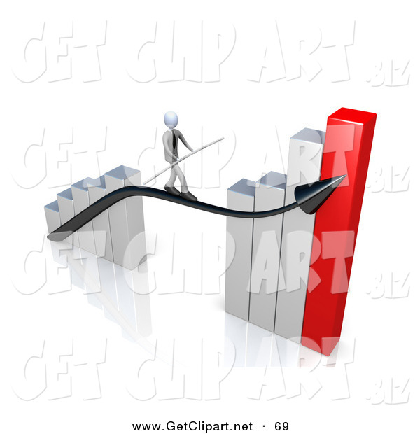 3d Clip Art of a Corporate Businessman Holding a Balance Beam While Walking on an Increase Black Arrow on a Silver and Red Bar Graph Chart on White