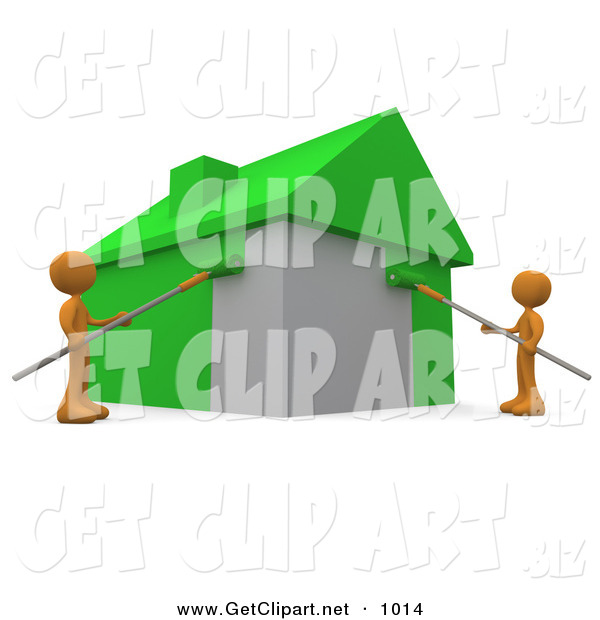 3d Clip Art of a Couple of Environmentally Concerned Orange People Using Roller Brushes to Paint a Home Green, Symbolizing Upgrading a Home to Be More Energy Efficient