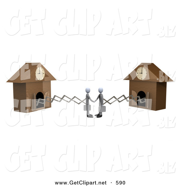 3d Clip Art of a Couple of White Businessmen Sticking out from Arms of Cuckoo Clocks, Shaking Hands upon Agreement of a Deal