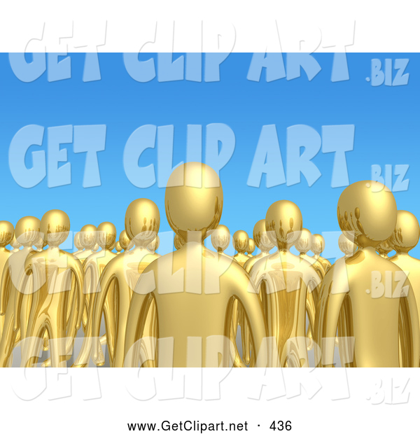 3d Clip Art of a Creepy Crowd of Gold People Standing Tall Together in a Group Against a Blue Sky Background, Symbolizing Unity and Teamwork