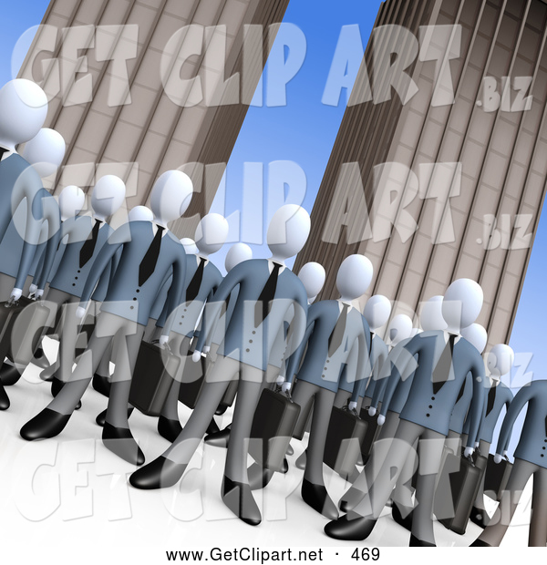 3d Clip Art of a Crowd of Businessmen Standing Together in Front of Tall Office Building Skyscrapers, Symbolizing Teamwork or Cloning, Look Alikes