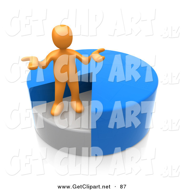 3d Clip Art of a Curious Orange Man Shrugging and Standing in a Sinking Spot of a Blue Pie Chart