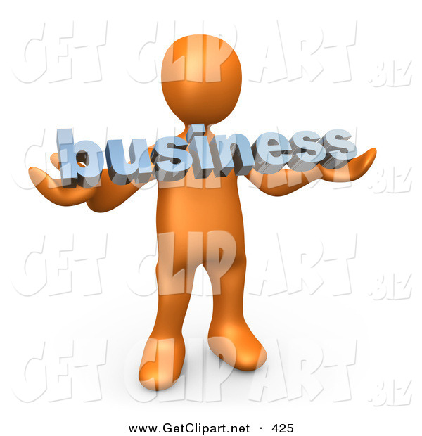 3d Clip Art of a Curious Orange Person Holding a Blue Business Sign