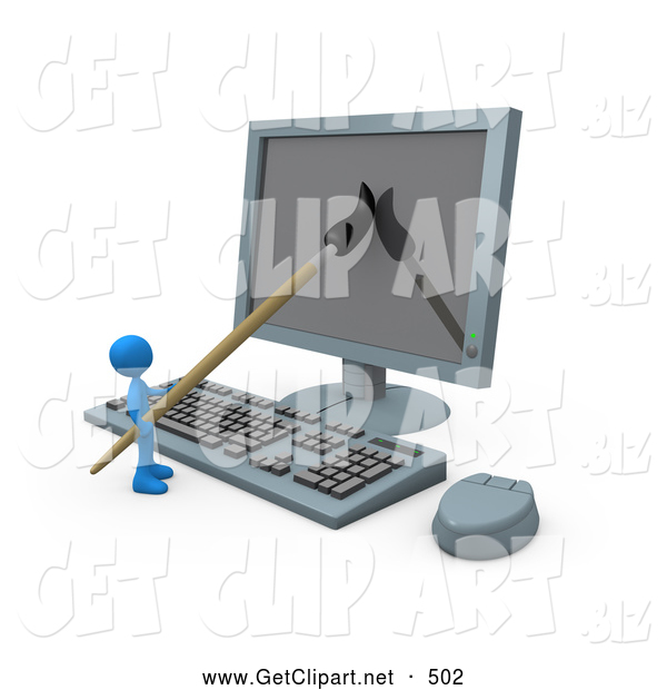 3d Clip Art of a Dark Blue Person, a Cartoonist, Using a Paintbrush on a Flat Screen Computer Monitor to Create an Image