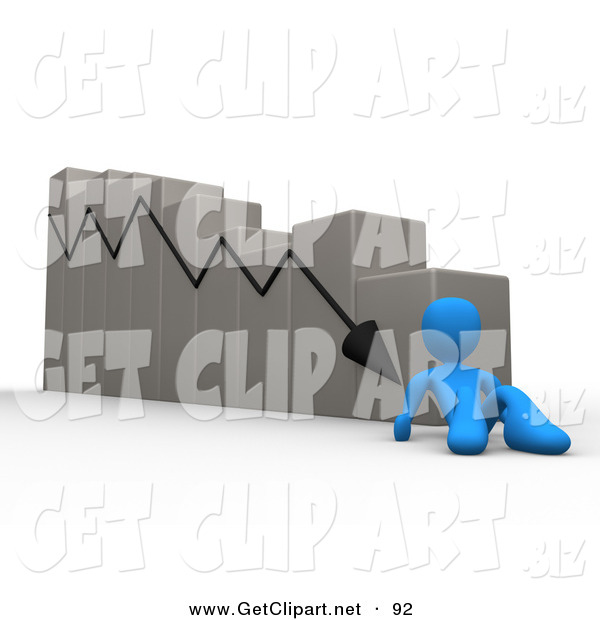 3d Clip Art of a Depressed Blue Person Lying at the Bottom of a Declining Bar Graph