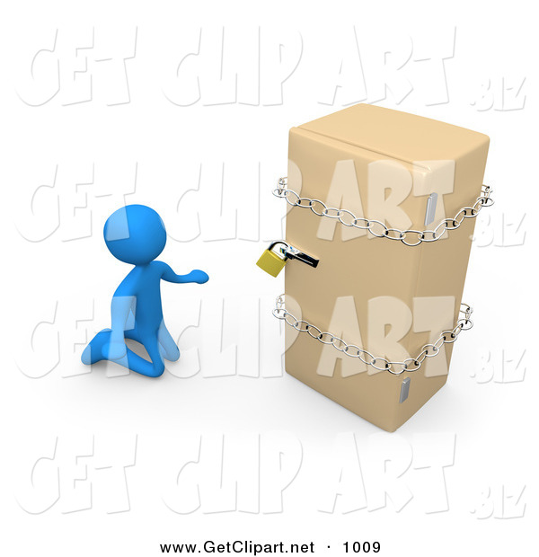 3d Clip Art of a Desperate Blue Man on a Restricted Diet, Kneeling and Begging in Front of a Refrigerator That Is Chained and Locked