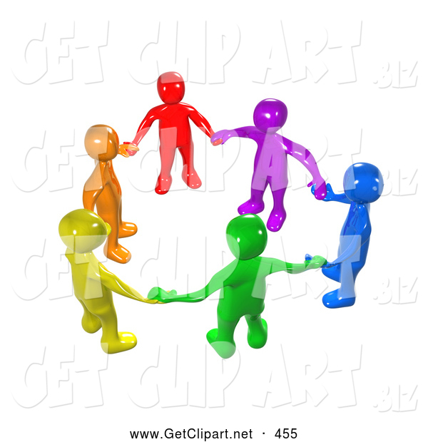 3d Clip Art of a Diverse Bright Circle of Colorful People Holding Hands, Symbolizing Teamwork, Friendship, Support and Unity