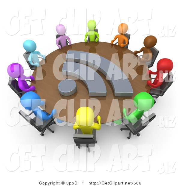3d Clip Art of a Diverse Group of Colorful Business People Seated at a Round Conference Table with a Blog Icon During a Business Meeting in an Office