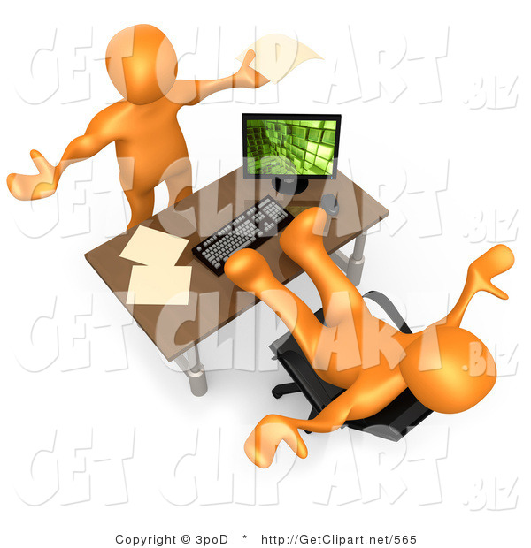3d Clip Art of a Flustered Orange Co-Worker Employee Holding Their Arms up While Complaining to Their Lazy Boss or Colleague Who Is Relaxing at His Desk
