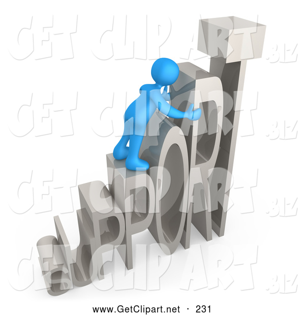 3d Clip Art of a Friendly Blue Person Climbing and Adjusting Letters Reading SUPPORT, Symbolizing Customer Service