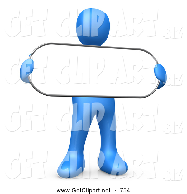 3d Clip Art of a Friendly Blue Person Holding a Blank White Oval Sign