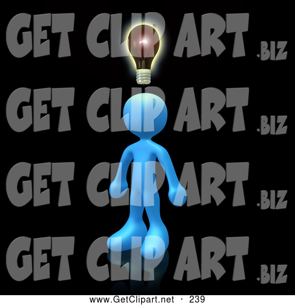 3d Clip Art of a Friendly Creative Blue Person on Black, Conjuring up Another Idea
