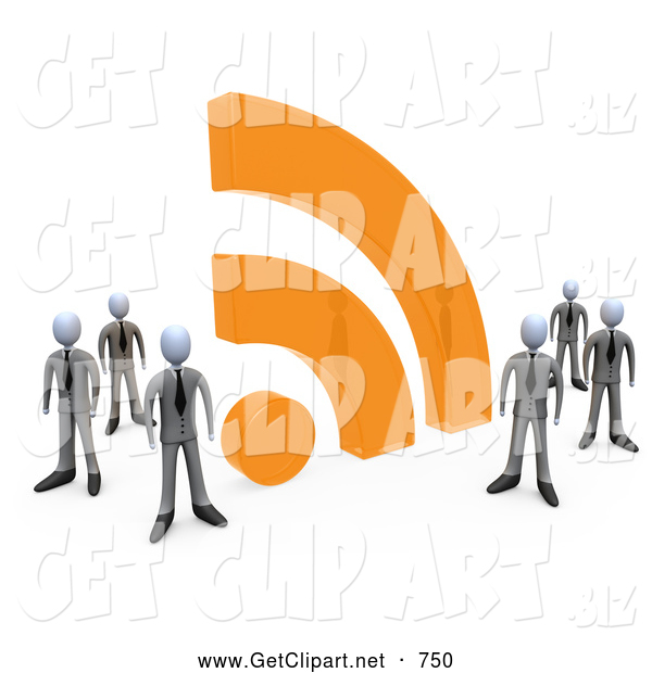 3d Clip Art of a Friendly Group of Businessmen in Matching Suits, Standing by a Large Orange RSS Symbol