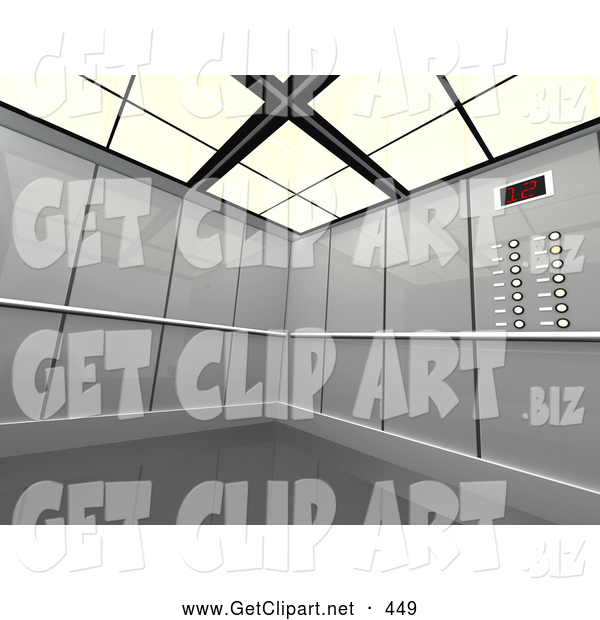 3d Clip Art of a Futuristic Gray Office Elevator