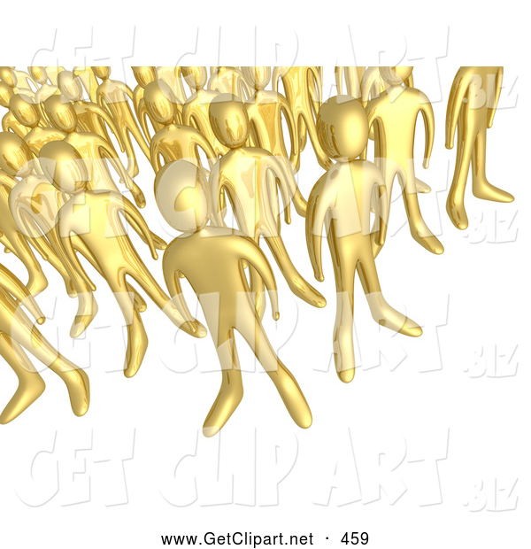 3d Clip Art of a Gathered Crowd of Gold People Standing Together, Symbolizing Teamwork and Unity