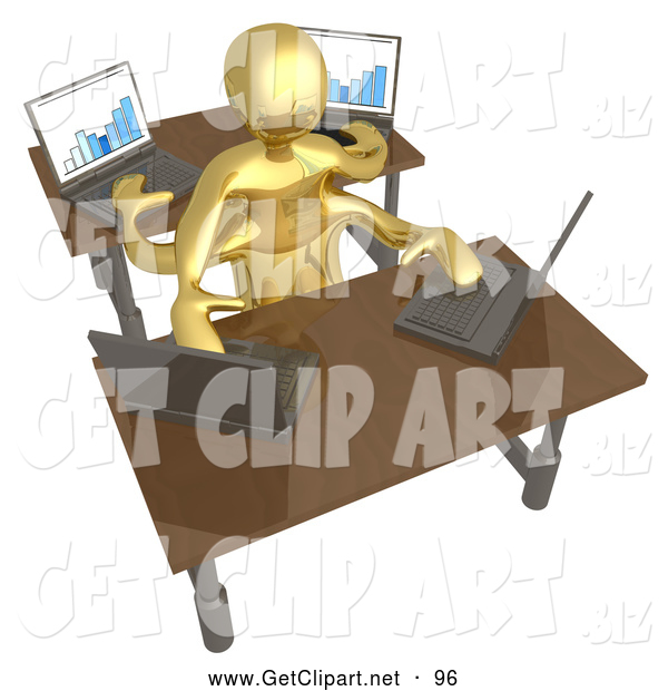 3d Clip Art of a Gold Man Multi Tasking at Work