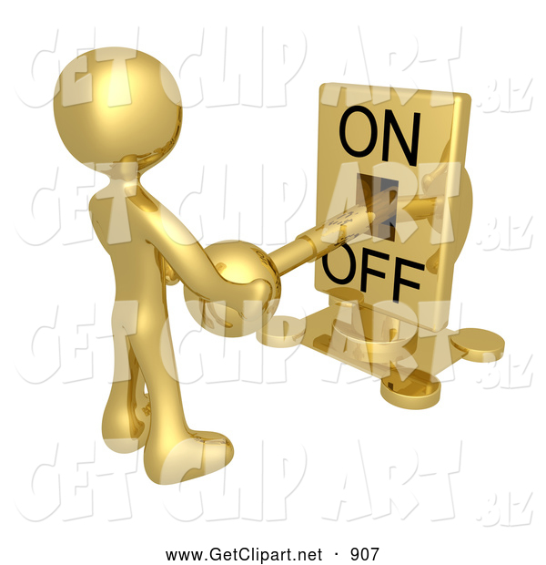 3d Clip Art of a Gold Person Holding a Mechanical Switch and Turning the Lever off