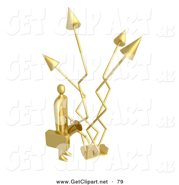 3d Clip Art of a Gold Successful Businessman Holding a Watering Can and Watering Graph Arrows That Keep Increasing Profits in the Business