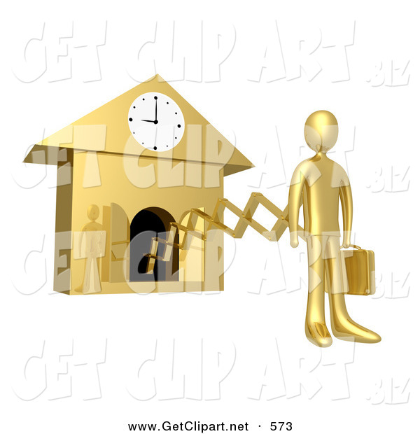 3d Clip Art of a Golden Businesman in a Suit, Holding a Briefcase and Sticking out from an Arm of a Cuckoo Clock upon the Hour of 9am, Symbolising the Start of a New Work Day, or Punctuality
